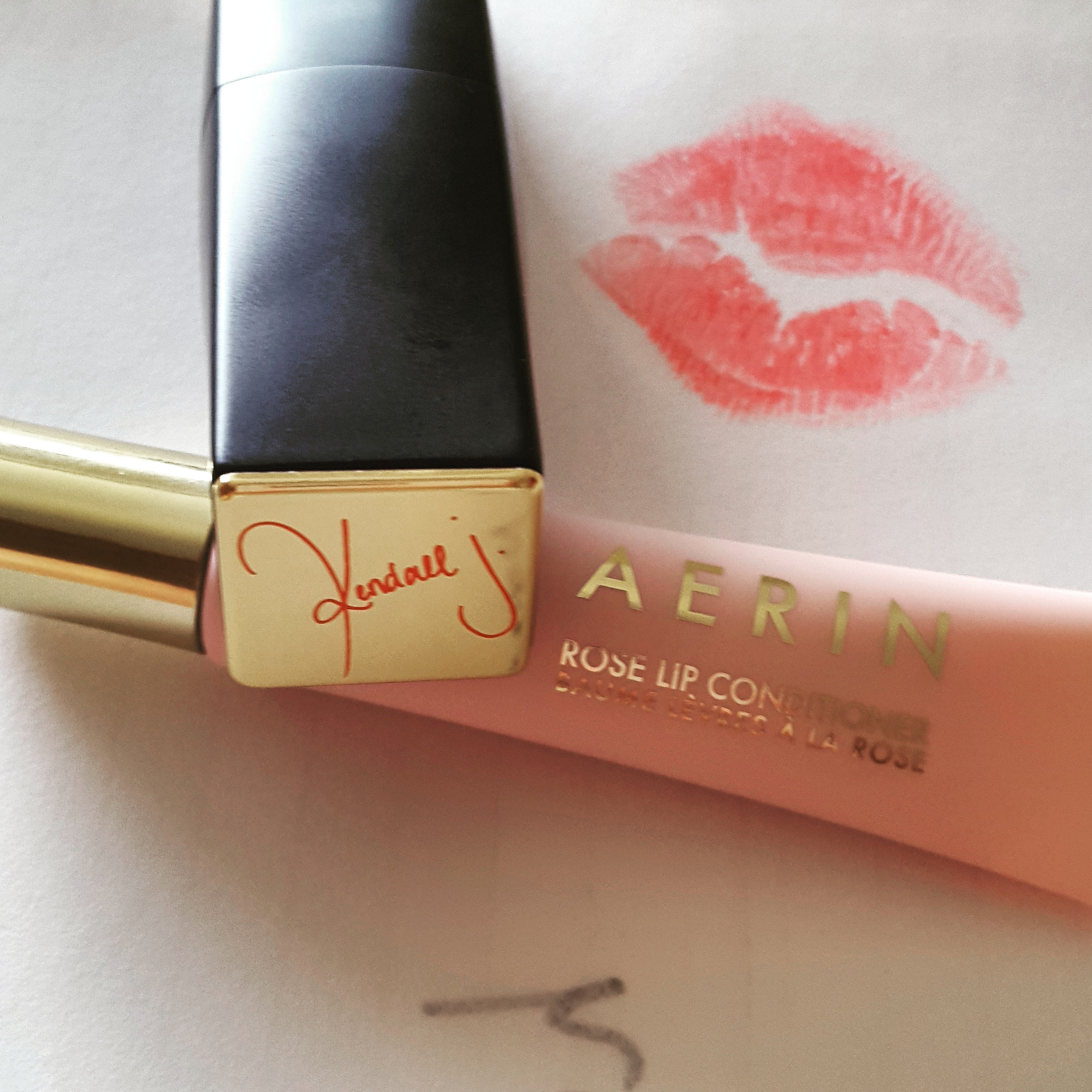 A limited edition lipstick by Kendall Jenner & Estee Lauder, and my favourite lip gloss by Aerin.